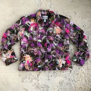 Chico's colorful wool blend button up jacket